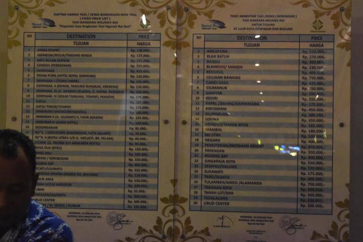 デンパサール空港タクシー料金表